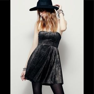 Free People Fit Flare Shattered Strapless Dress